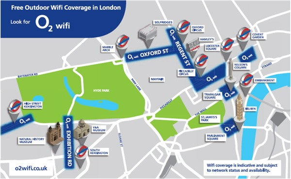 O2 offering free WiFi around Londons busiest streets