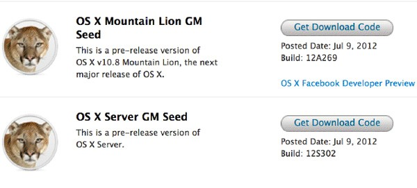 Apple OS X 108 Mountain Lion Gold Master is up for the download