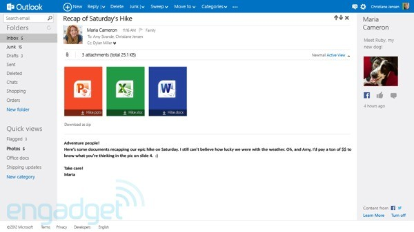 Outlook.com email attachments