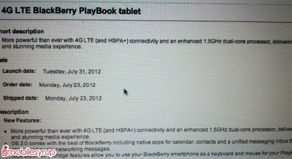 BlackBerry PlayBook with 4G LTE may reach Bell by July 31st, 15GHz chip tagging along