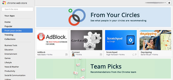 Chrome Web Store offers app recommendations from your Google mates, allows you to return the favor