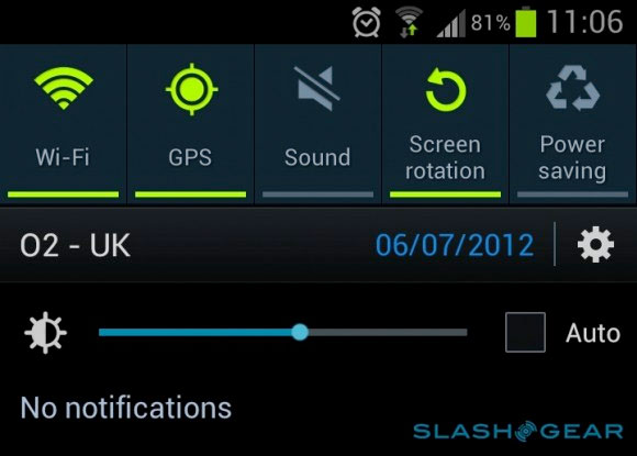 Samsung Galaxy S III OTA update adds brightness widget to dropdown menu