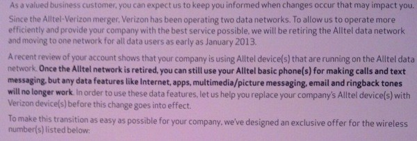 Verizon may cut what's left of Alltel data starting January 10th