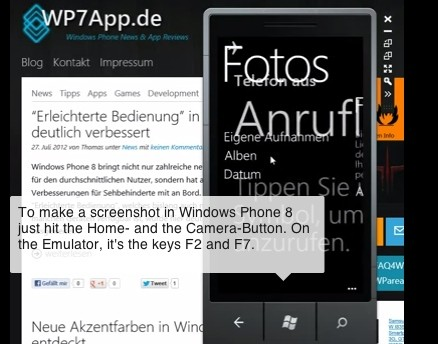 Native screenshot feature for Windows Phone 8 confirmed by emulator