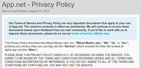 8 24 2012appnetprivacy App.Net posts terms of service, asks for feedback
