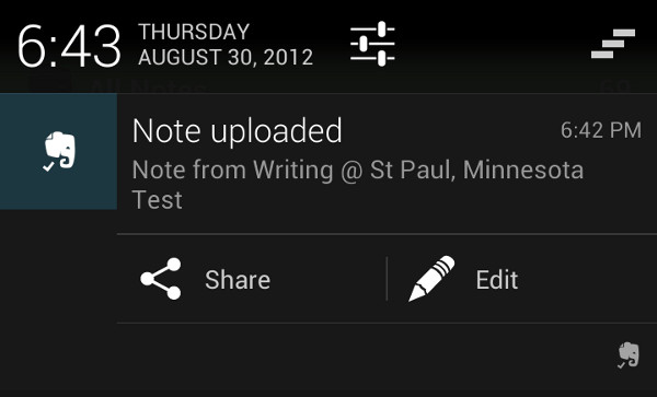 Evernote update makes use of Jelly Bean's rich notifications