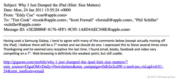 Apple SVP Eddy Cue wanted 7inch iPad in 2011, internal email says