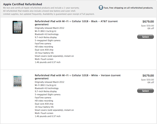 Apple starts selling refurbished 'new' iPads for $50 less than MSRP