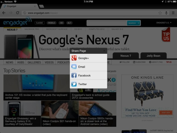 Google Chrome for iOS update brings sharing to G, Facebook and Twitter