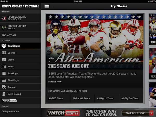 ESPN delivers College Football app to iOS and Android just in time