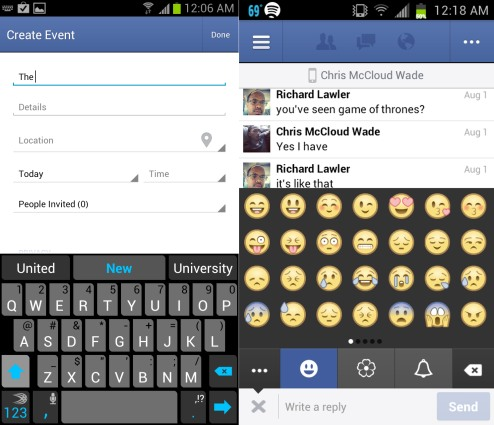 Facebook for Android app updated with messaging emoji, easy event creation and a bit more