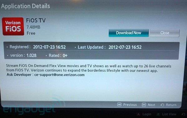 FiOS TV app for Samsung HDTVs and Bluray players available with 26 live channels video