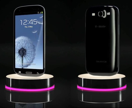 Black Galaxy S III shown on TMo website glossy and shady in equal measure