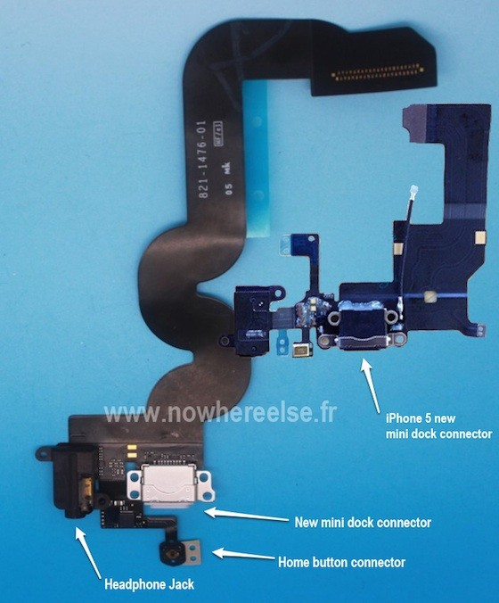 Leaked photo allegedly shows iPad Mini's dock connector flex cable with headphone jack on bottom