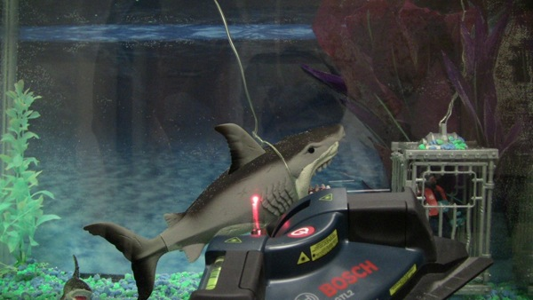 Liquidware team crafts laser tripwire that tweets intruder alerts, keeps fake sharks at bay video