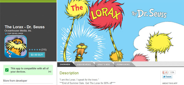 Google Play's End of Summer Sale outed by discounted app descriptions, lets the Lorax speak for the savings