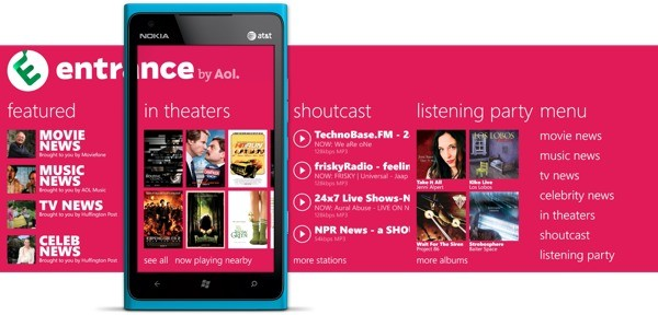 Nokia and AOL to release Entrance, an entertainment app for Nokia's Windows Phone devices