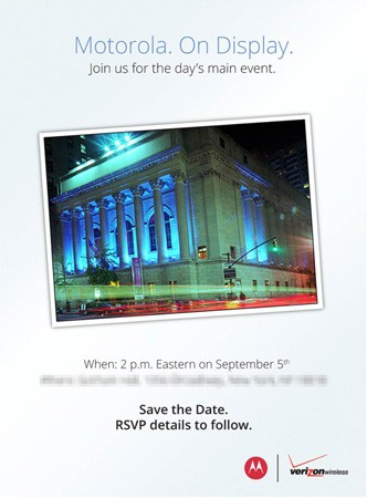 Motorola schedules press event September 5th