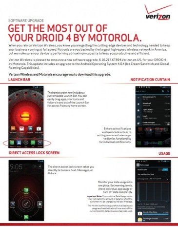 Motorola Droid 4's Android 40 upgrade clears Verizon hurdles, brings global roaming soon