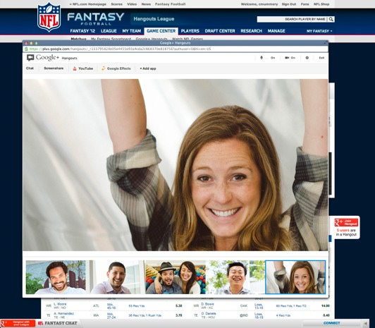 NFL fantasy footbal leagues add Google Hangouts for extrapersonal trash talking