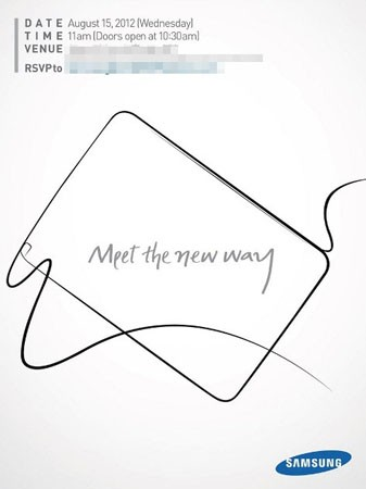 Samsung sends invites for August 15th event, Galaxy Note 10.1 unveiling?