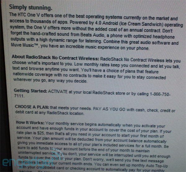 RadioShack Mobile evidently launching as a Cricketbased MVNO, may launch with HTC One V