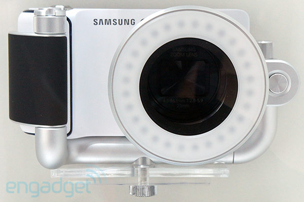 Samsung Galaxy Camera accessories include external  ring flashes, wireless charging pad, barn door ring eyeson