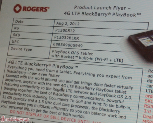 DNP Leaked Rogers memo reveals BlackBerry Playbook 4G LTE prices