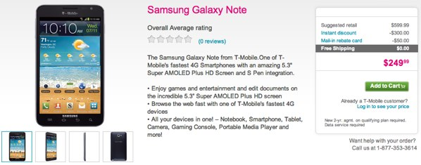 PSA TMobile Galaxy Note now available online and in stores