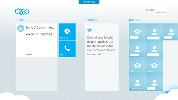 Skype for Windows 8 preview, user interface revealed in web leak