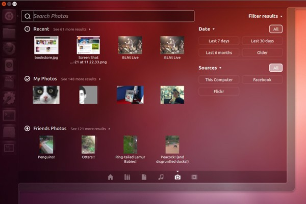 Ubuntu 1210 adds Photo Lens for searching photos stored locally and online
