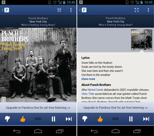 Pandora Android app update new UI, song history and song lyrics for impromptu cubicle concerts