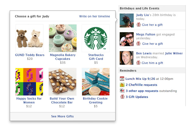 Facebook Gifts swaps virtual trinkets for real life goods