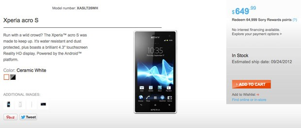 Sony's Xperia acro S now on sale in unlocked form for $650