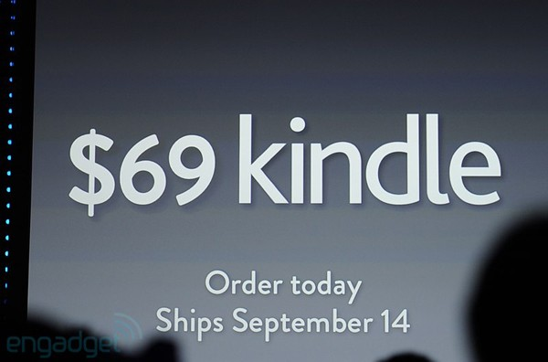 Amazon announces $69 Kindle, shiping on September 14th