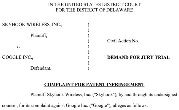 Skyhook sues Google for patent infringement again