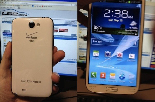 Verizon's Galaxy Note 2 purportedly poses for the camera, over-branding included