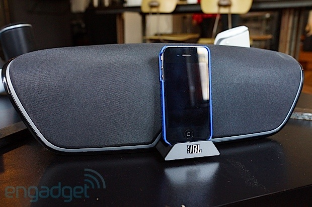 Harman showsoff its upcomming JBL docks and speakers, we go eyeson
