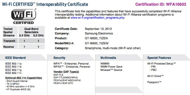 WiFi Alliance certificate teases Tizen flavored Galaxy S III, 