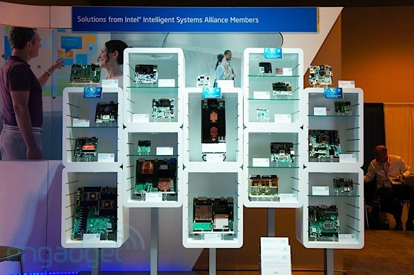 Visualized Intel's wall of motherboards at IDF 2012