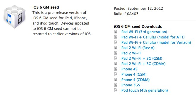 iOS 6 seeded to developers ahead of official launch