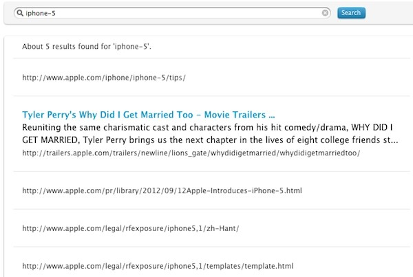 iPhone 5 name turns up in search results on Apple's site