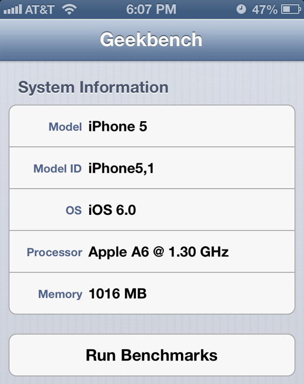 Apple's A6 CPU actually clocked at around 13GHz, per new Geekbench report