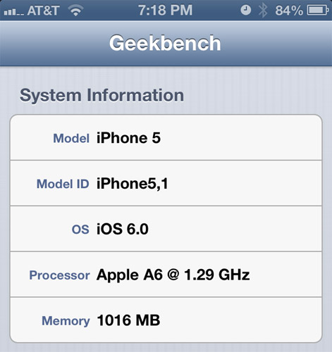 iphone5 geekbench 12ghz Apples A6 CPU actually clocked at around 1.3GHz, per new Geekbench report