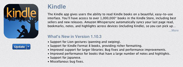 Amazon Kindle Mac app update adds gesture support and Kindle format 8 support