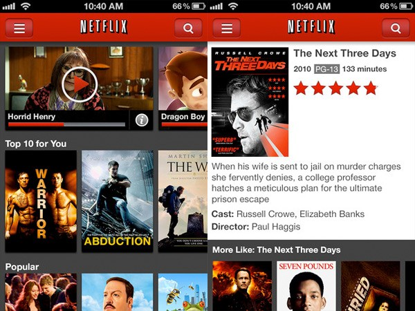 Netflix for iPhone gets updated, lets you continue watching where you left off, adds more titles to home screen video
