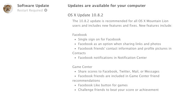 Apple releases OS X 1082 update for Mountain Lion Facebook integration, iMessage fixes and more