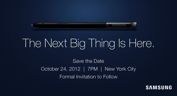 Samsung sends invitations to 'The Next Big Thing' on October 24th in New York City