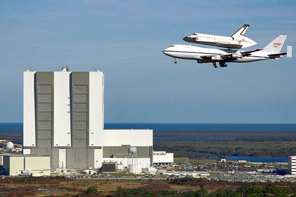 Space Shuttle Endeavour hitching a ride atop a 747 to its new home on September 17