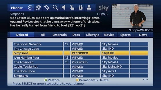 Sky update allows undeleting recorded shows, more ondemand and future Catch Up TV